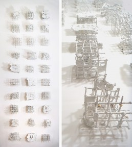 installation, gridded space