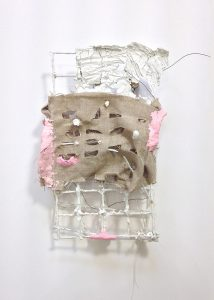 Draped Structure, linen, porcelain, air dry clay, ink, 14k gold wire, wood, styrofoam and wire